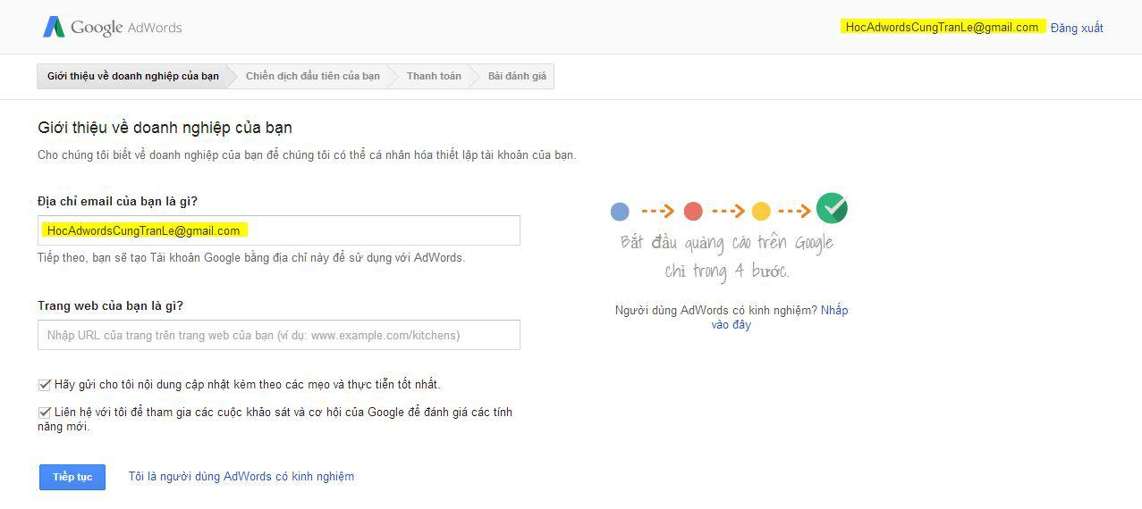 cách chạy google adwords