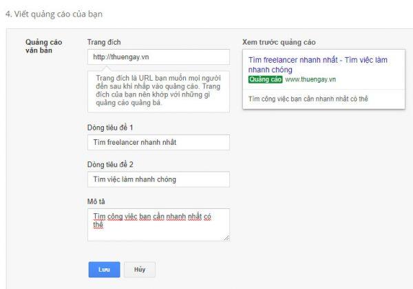 chạy google adwords